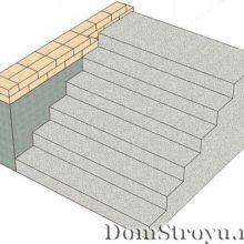 Крыльцо с бетонным перекрытием и лестницей